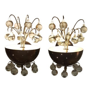 Mid-Century Sconces With Crystal Orbs - a Pair For Sale