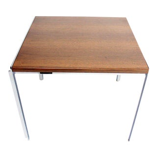 Mid-Century Modern Stow Davis Walnut and Chrome Coffee Table For Sale