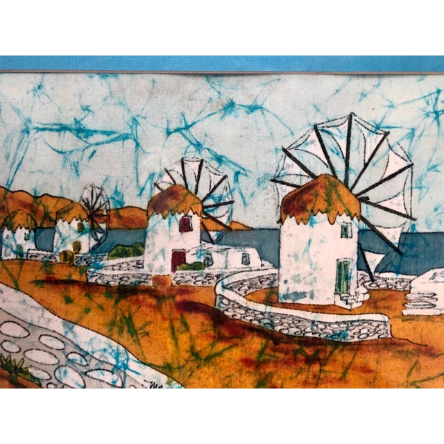 Vintage Greek Framed Batik and Cloth Paintings of Mykonos Windmills- a Pair For Sale - Image 10 of 12