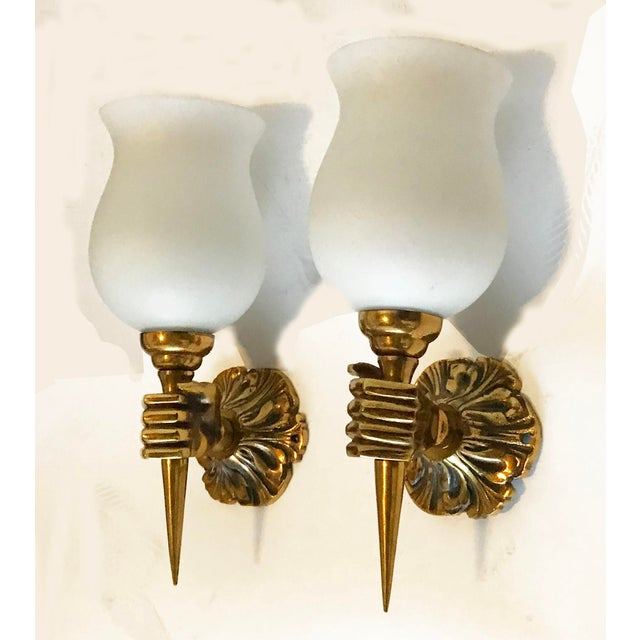 André Arbus Vintage 1940s French Arbus Sconces - A Pair For Sale - Image 4 of 6