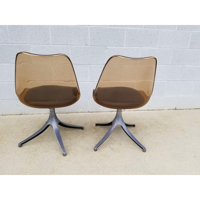 Mid Century Chromcraft Brown Lucite Side Chairs- a Pair For Sale - Image 4 of 8