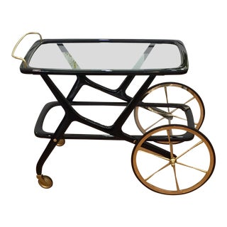 Mid Century Italian Lacquered Cesare Lacca Bar Cart For Sale