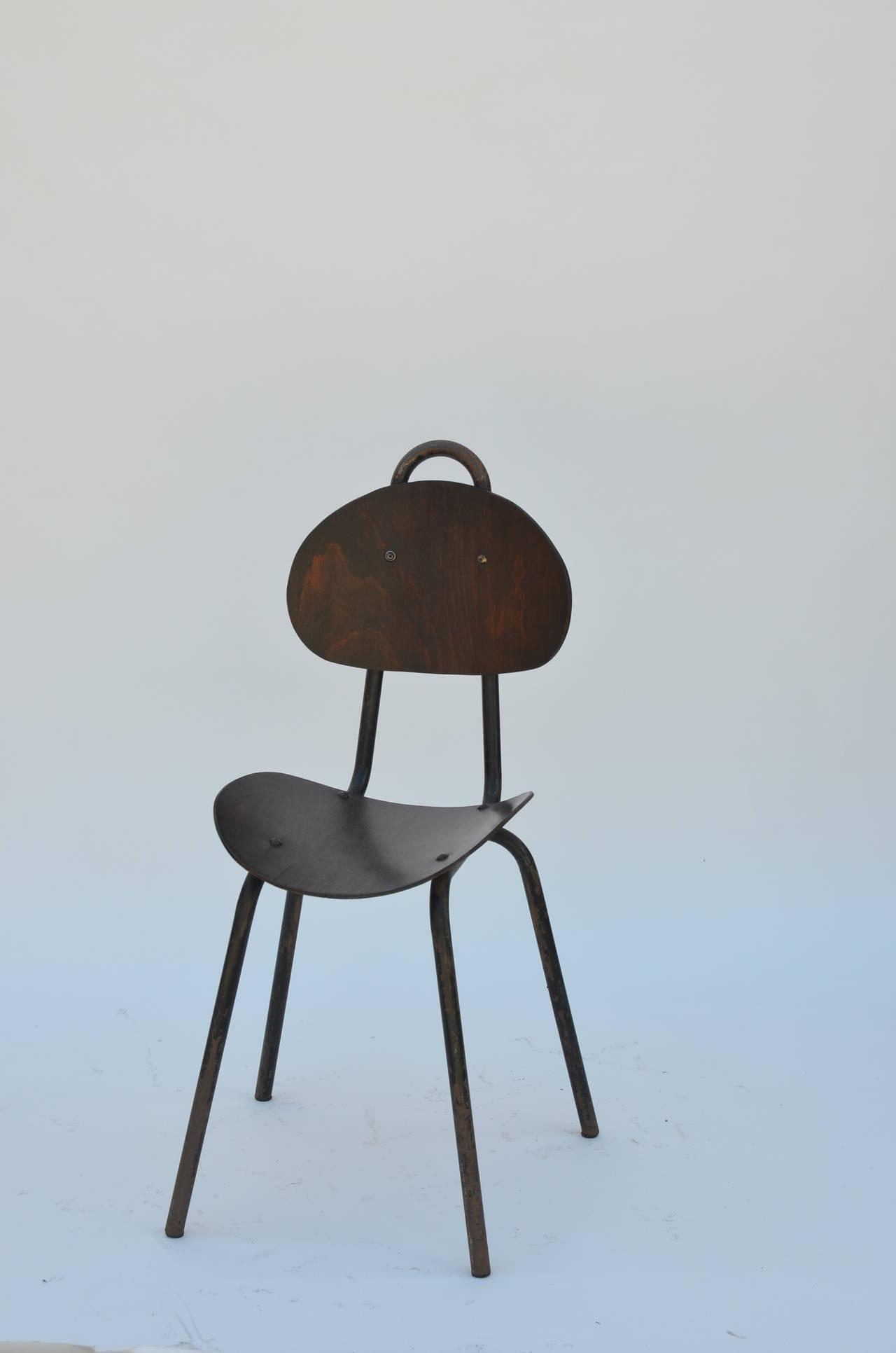 Industrial Pair Of Unique French Industrial Bentwood Side Chairs For Sale    Image 3 Of 10