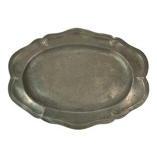 Vintage French Pewter Platter For Sale
