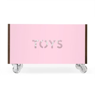 Toy Box Chest on Casters in Walnut With Pink Finish Preview