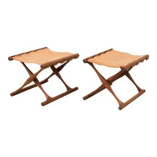 Pair of Teak and Leather Gold Hill Stools by Poul Hundevad, Denmark, 1950s