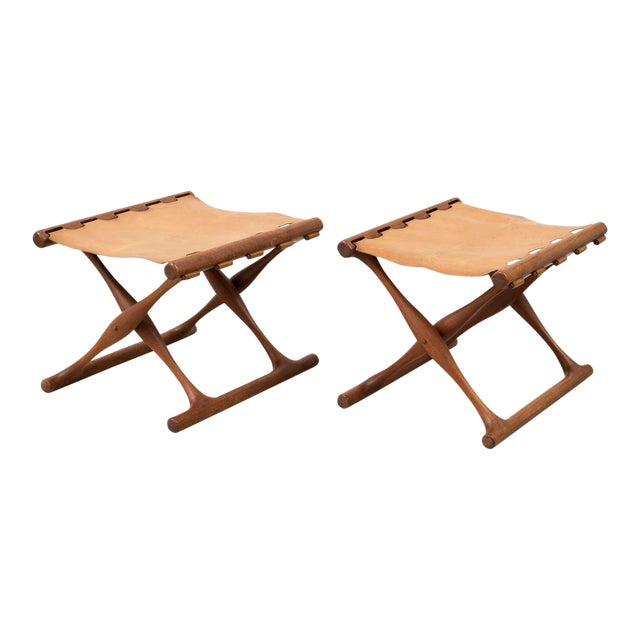 Pair of Teak and Leather Gold Hill Stools by Poul Hundevad, Denmark, 1950s For Sale