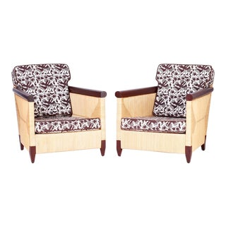 Reed Wrapped Lounge Chairs - A Pair For Sale