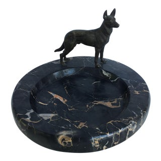 Bronze Dog on Onyx Bowl For Sale