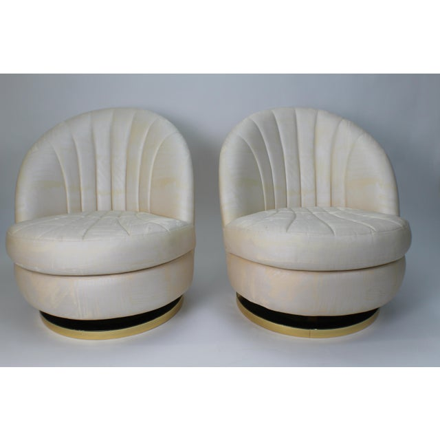 1980s Modern Milo Baughman for Thayer Coggin Gold Swivel Chairs - a Pair For Sale - Image 13 of 13