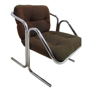 Vintage Mid-Century Cantilever Chrome Sling Lounge Chair