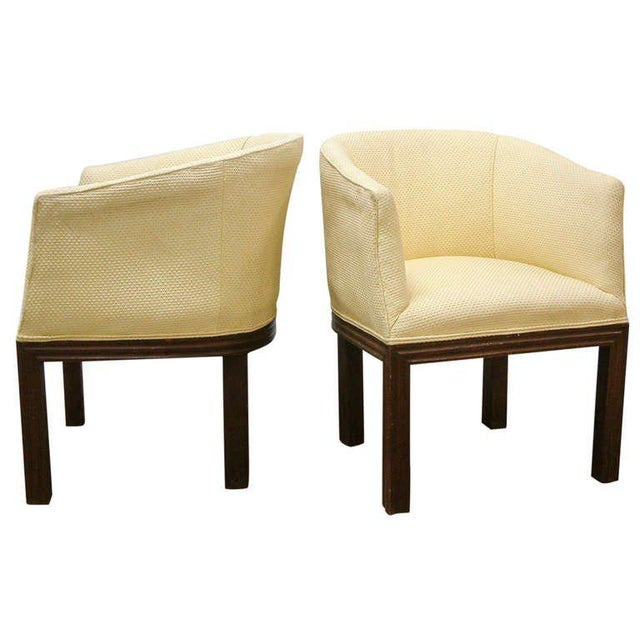 Circa 1950 Mid-Century Upholstered Yellow Arm Chairs - Pair For Sale - Image 11 of 11