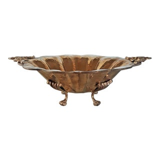 Vintage Hammered Brass Footed Bowl For Sale