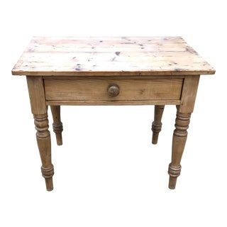 Late 19th Century Antique French Pine Table With Drawer For Sale