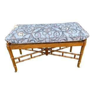 Vintage Chinese Chippendale Faux Bamboo Cane Seat Bench With Cushion For Sale