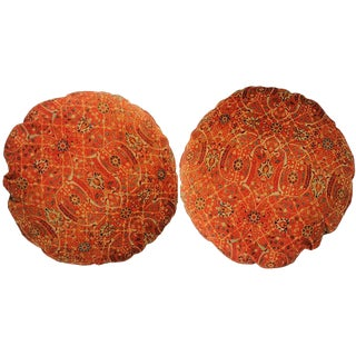 Persian Round Decorative Accent Pillows - a Pair, 17ʺW × 17ʺH For Sale