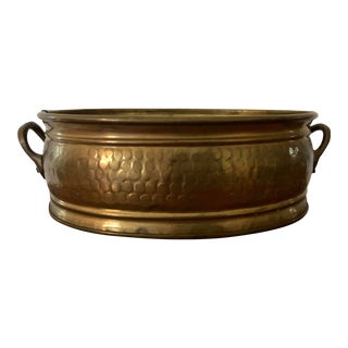 Vintage Brass Container with Side Handles For Sale