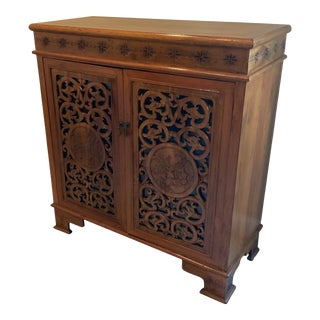 Late 20th Century Americana Carved Cabinet For Sale