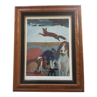 Foxhound Dog Print With Winslow Homer Fox Painting For Sale