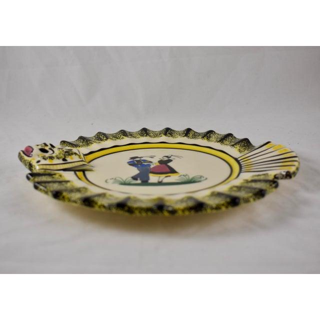 Ceramic 1940s French Faïence Henriot Quimper Fish & Breton Dancer Plate, Multiples Available For Sale - Image 7 of 12