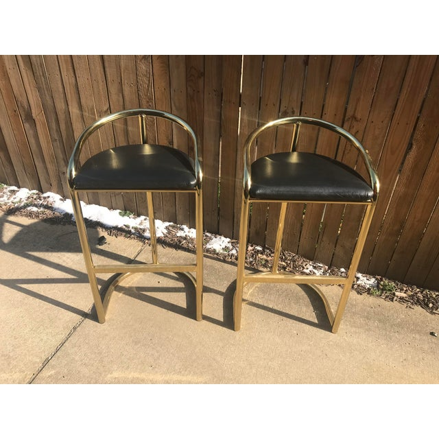 Milo Baughman Style Brass Bar Stools - A Pair - Image 2 of 7