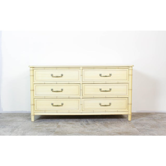 Mid Century Faux Bamboo Dresser, Faux Bamboo Dresser of Six Drawers, Cream Dresser For Sale In Miami - Image 6 of 7