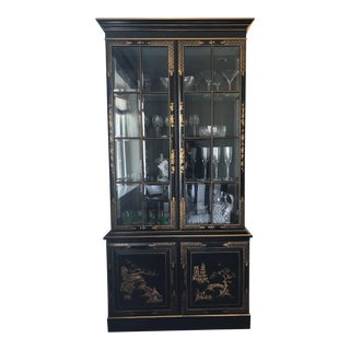 Chinoiserie Contemporary Black Lacquer China Cabinet