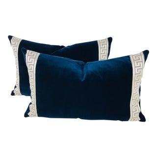 Indigo Blue Plush Velvet Pillows – a Pair
