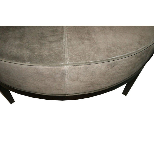 Customizable Haller Walnut Base Round Ottoman For Sale In New York - Image 6 of 8