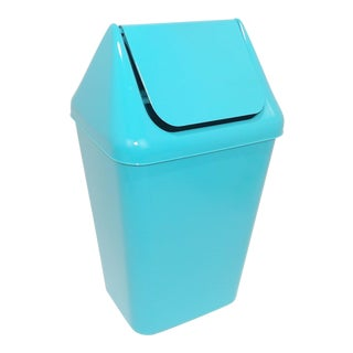 1980s Modern Aqua Plastic Trash Can Waste Receptacle