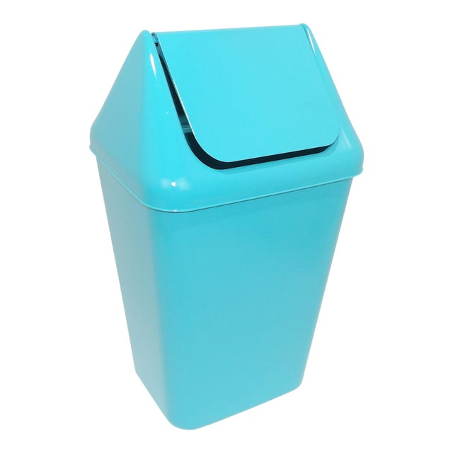 1980s Modern Aqua Plastic Trash Can Waste Receptacle For Sale