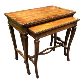 Heritage Burl Walnut Nesting Tables - 2 Pieces For Sale