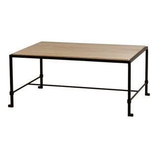 Chic 'Diagramme' Wrought Iron and Travertine Coffee Table For Sale