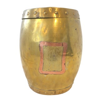 Early 20th Century Vintage Brass and Copper Garden Stool For Sale