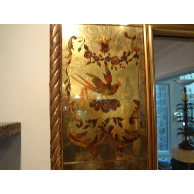 Glass Vintage French Maison Jansen Style Chinioserie Eglomise Mirror For Sale - Image 7 of 9