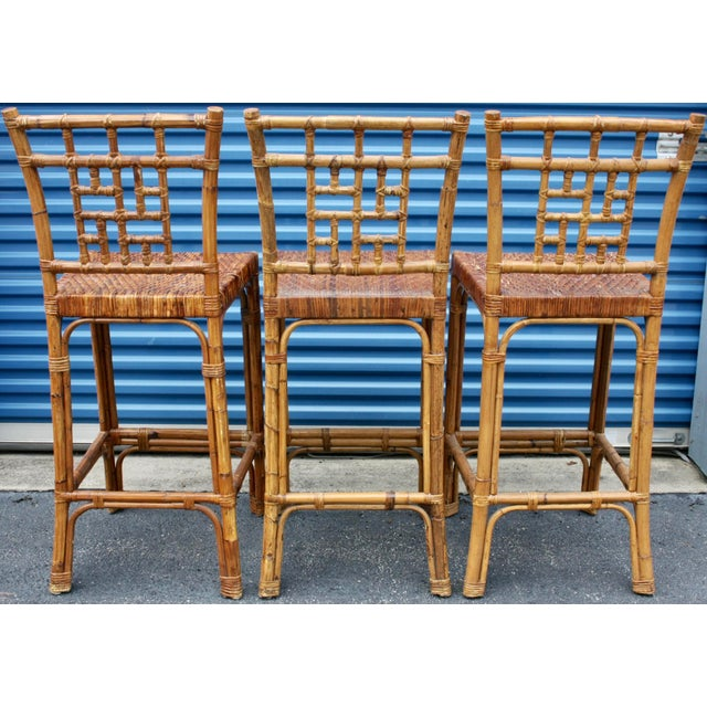 Rattan Wicker McGuire-Style Fretwork Bar Stools - Set of 3 For Sale In Dallas - Image 6 of 11