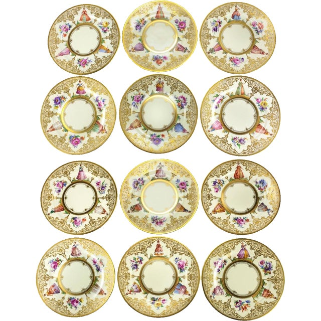 Ambrosius Lamm Dresden Hand Painted Dinner Plates - Set of 12 - Image 2 of 5