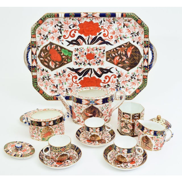 Royal Crown Derby Porcelain Antique England Royal Crown Derby Imari Porcelain Tea Service . For Sale - Image 4 of 13