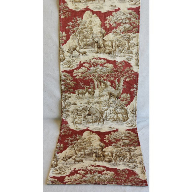 "Early 21st Century Custom Woodland Nature Deer & Fawn Toile Table Runner 110"" Long For Sale - Image 5 of 7"