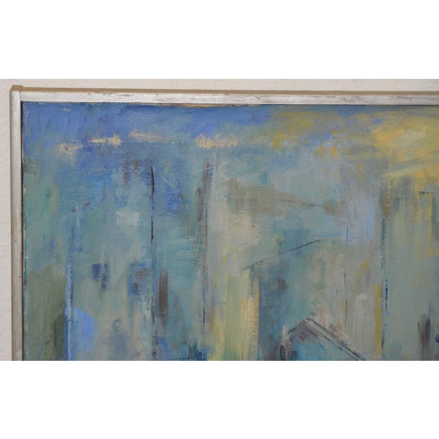Mid Century Modern Abstract Cityscape by Mary Carey c.1950s Fine cityscape in blues by noted California artist Mary Carey...