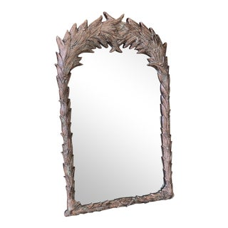Vintage Serge Roche Style Carved Leaf Mirror For Sale