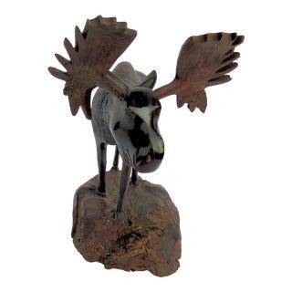 Hand Carved Adult Moose For Sale