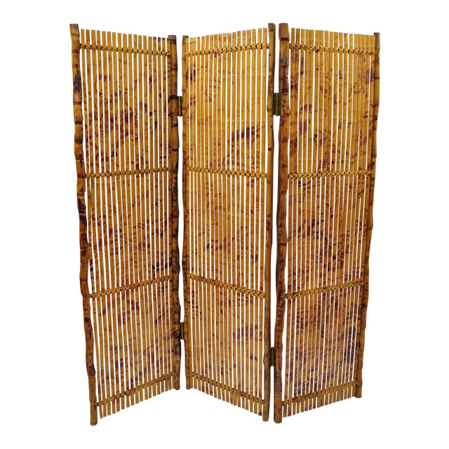 Late 20th Century Bamboo Wood Panel Room Divider For Sale