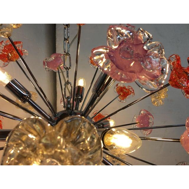 Murano Glass Sputnik Flower Chandelier For Sale - Image 6 of 8
