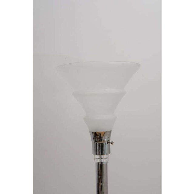Late 20th Century Art Deco Style Chrome and Lucite Floor Lamp With Frosted Glass Shade For Sale - Image 5 of 8