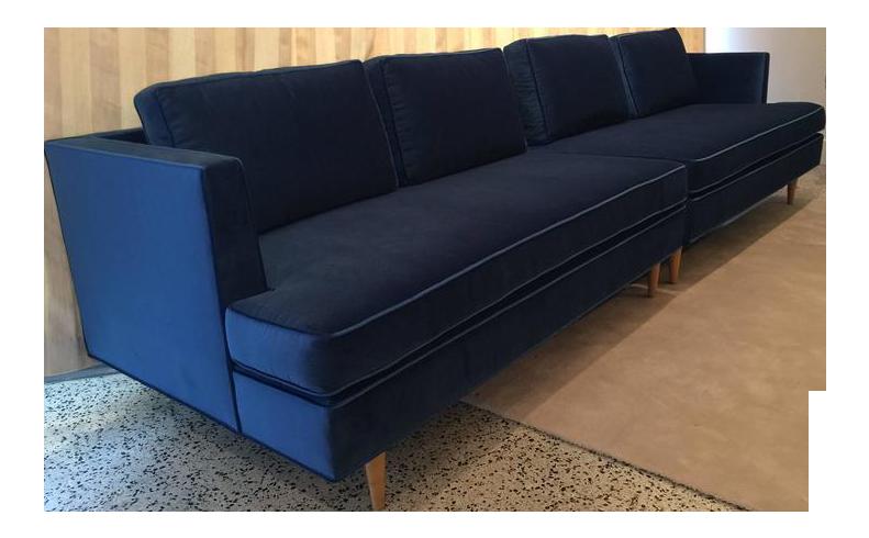 Edward Wormley Sectional Sofa For Dunbar In Blue Velvet   Image 1 Of 6