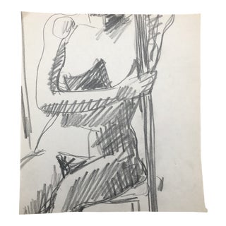 Seated Female Nude From Life Drawing Class by James Bone 1970s For Sale