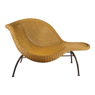 Sculptural Wicker Chaise Longue For Sale
