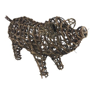 Wicker Twig Pig Decor For Sale