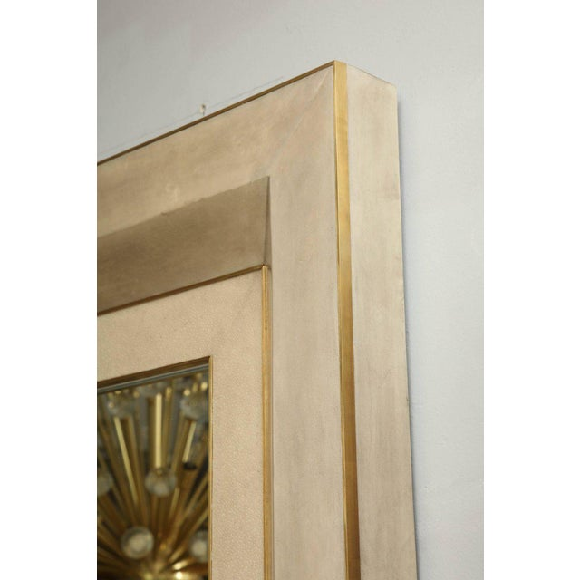 2010s Chic Goatskin and Shagreen Mirror with Brass Trim For Sale - Image 5 of 6